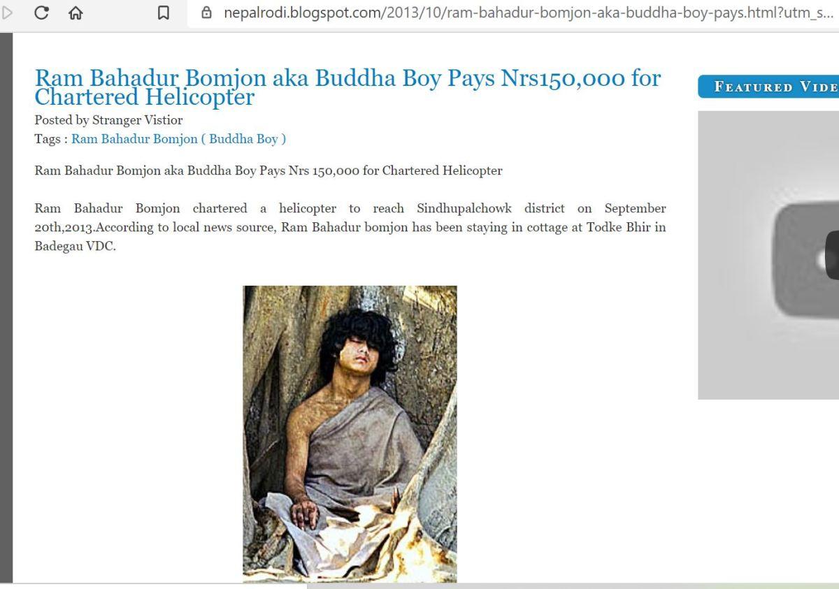 Ram Bahadur Bomjon aka Buddha Boy Pays Nrs150,000 for CharteredHelicopter